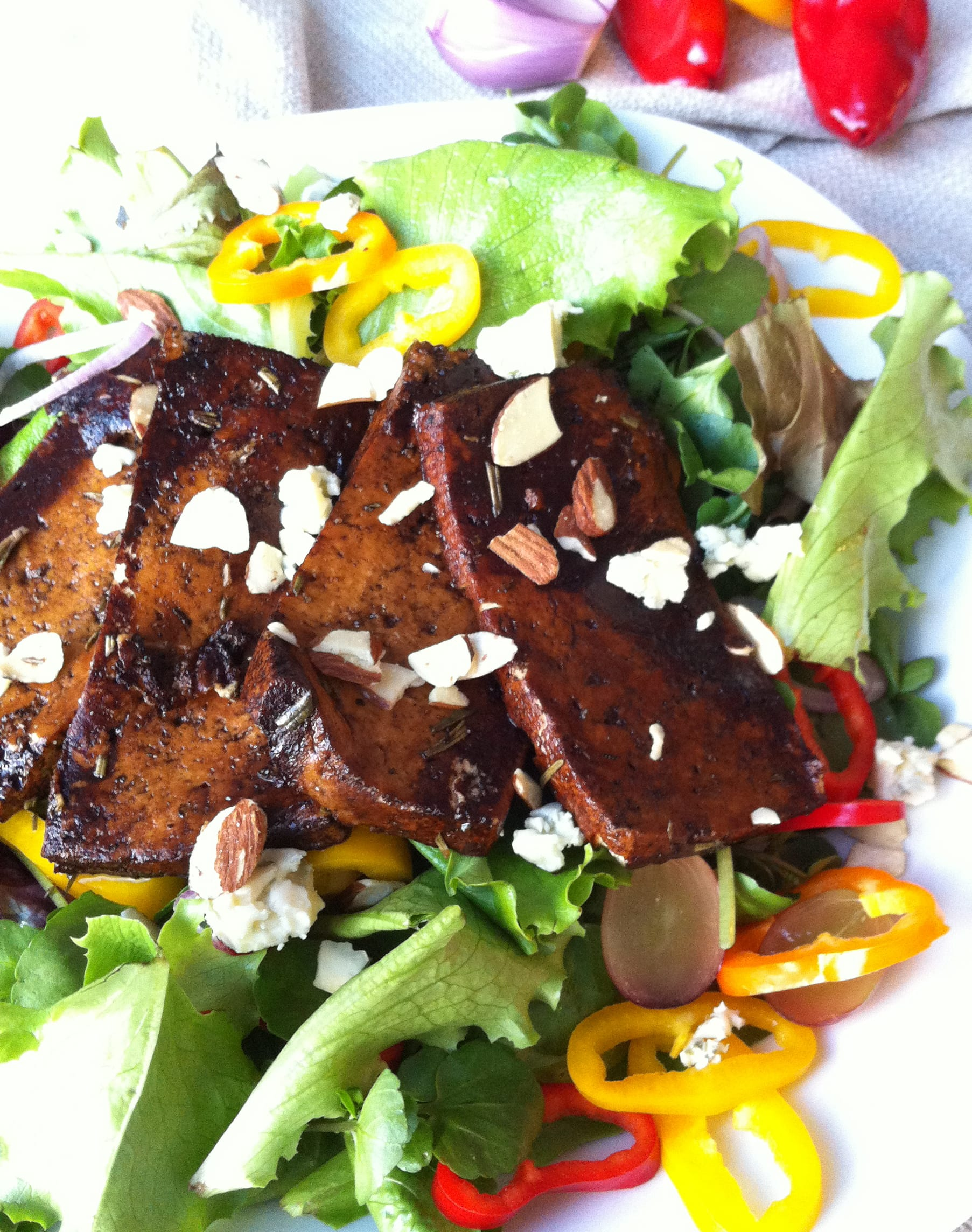 Marinated Tofu Salad with Sweet Balsamic Glaze