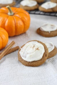 Chewy Chocolate Chip Pumpkin Cookies with Browned Butter Icing