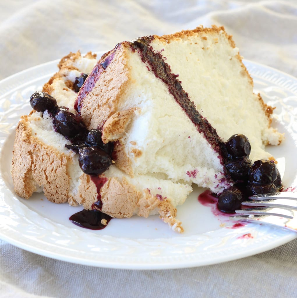 Angel Food Cake with Blueberry Sauce