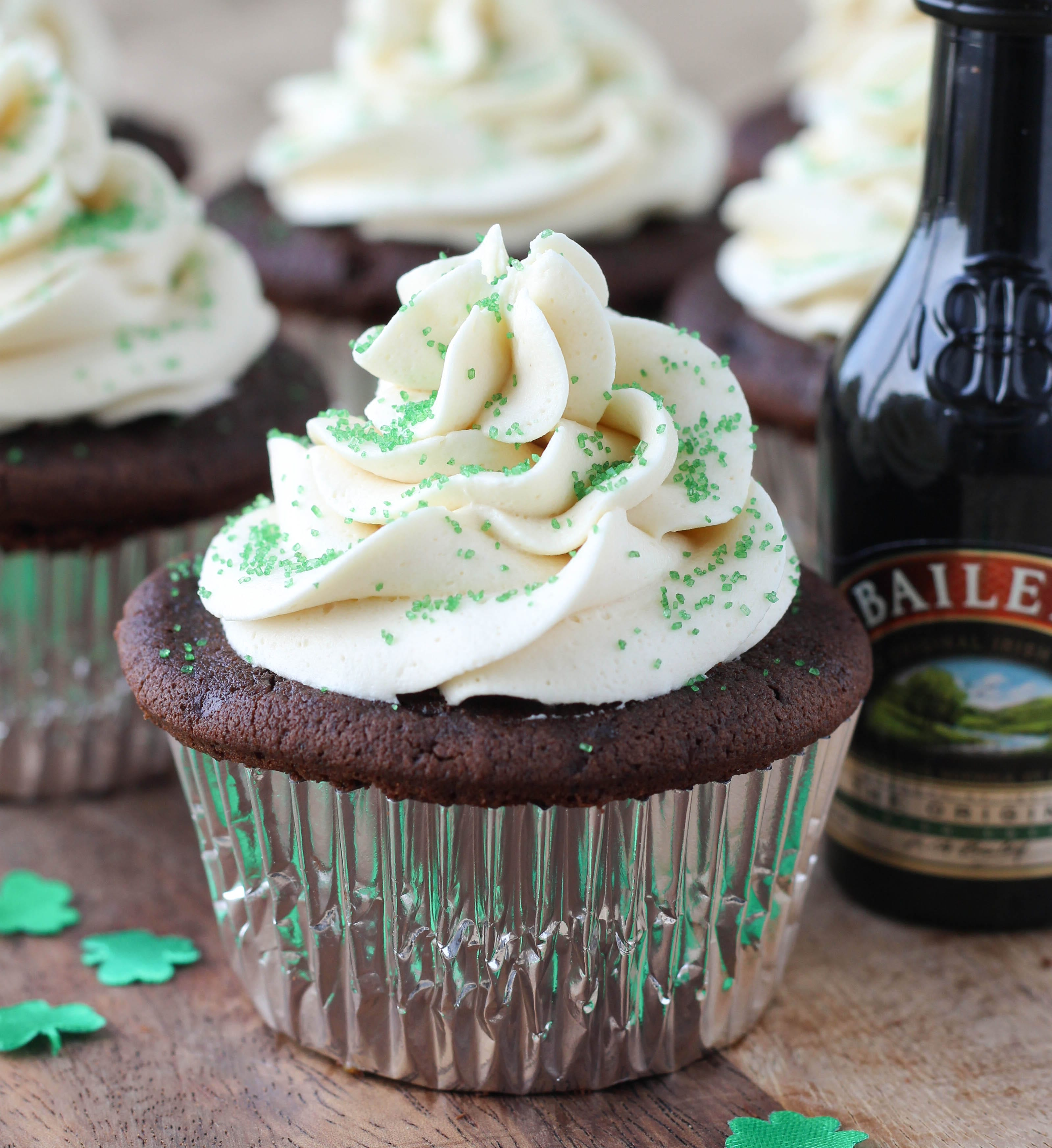 Guinness Chocolate Cupcakes with Bailey's Buttercream and Salted Caramel Filling