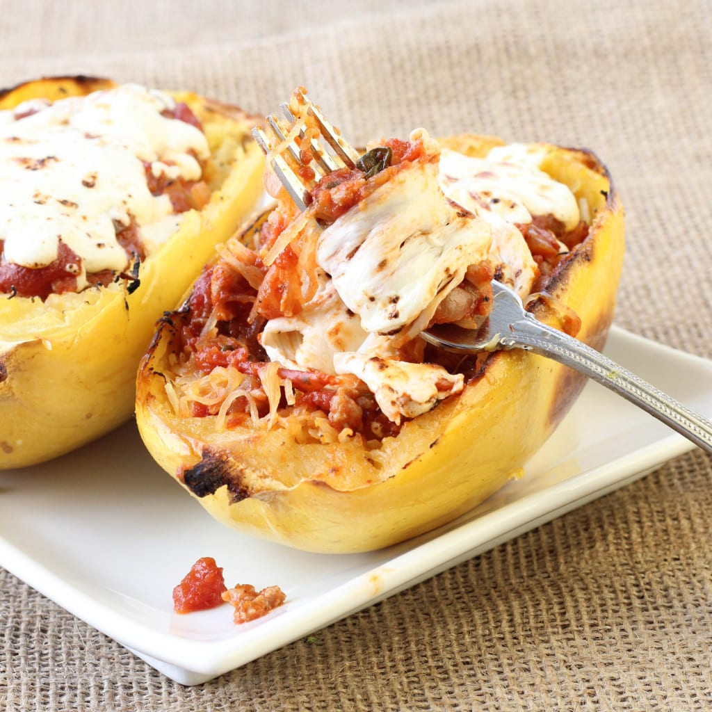 Twice Baked Spaghetti Squash with Turkey Sausage Meat Sauce