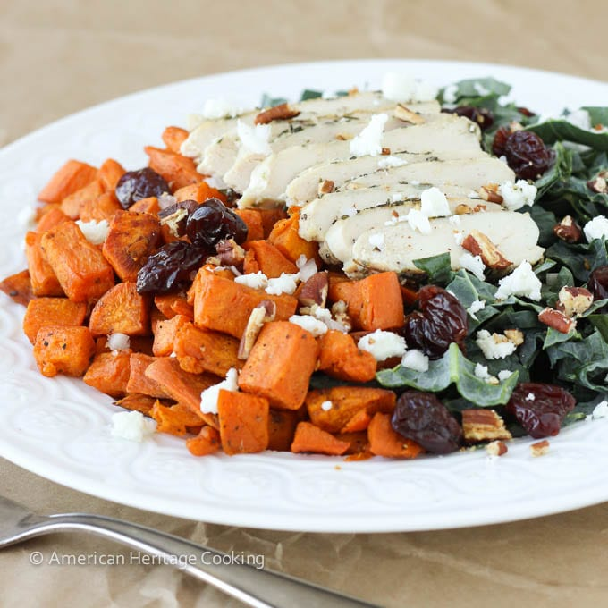 Roasted Sweet Potatoes Kale Salad