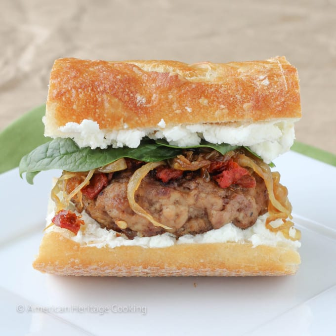 Gourmet Turkey Burger with goat's cheese, sun-dried tomatoes and caramelized onions