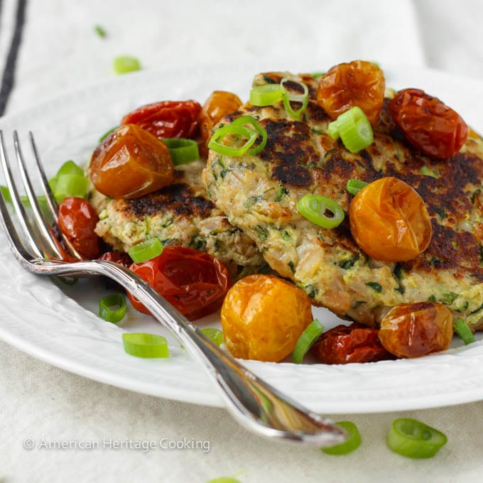 Zucchini Farro Fritters with Slow Roasted Tomatoes