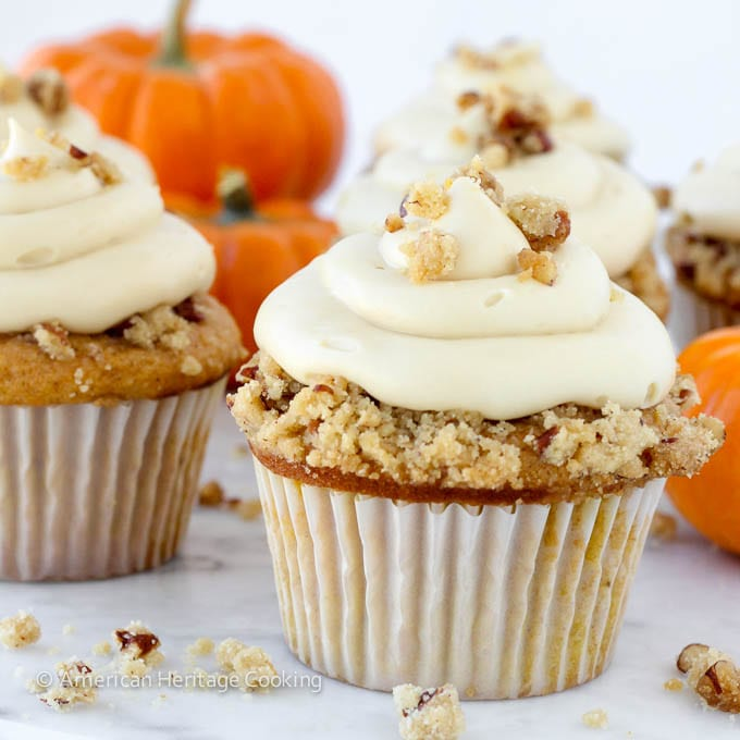 Pumpkin Pecan Pie Cupcake with Bourbon Brown Sugar Cream Cheese Frosting