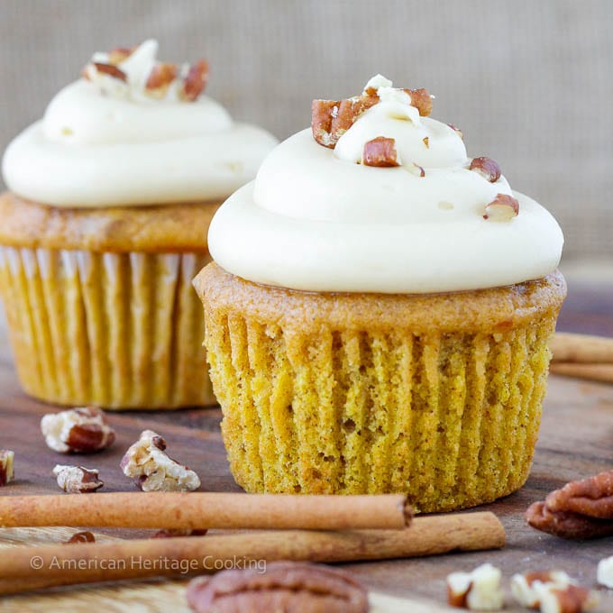 Toasted Pecan Pumpkin Cupcakes Maple Caramel Frosting