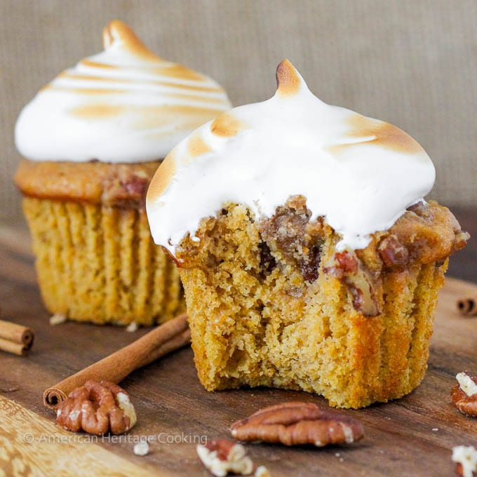 Sweet Potato Casserole Cupcakes with Homemade Marshmallow Frosting   Everything you love about sweet potato casserole in an adorable cupcake!!