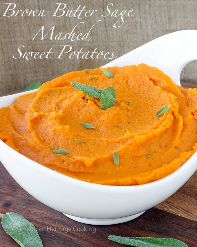 Brown Butter Sage Mashed Sweet Potatoes will liven up any meal! Easy, stunning and delicious!