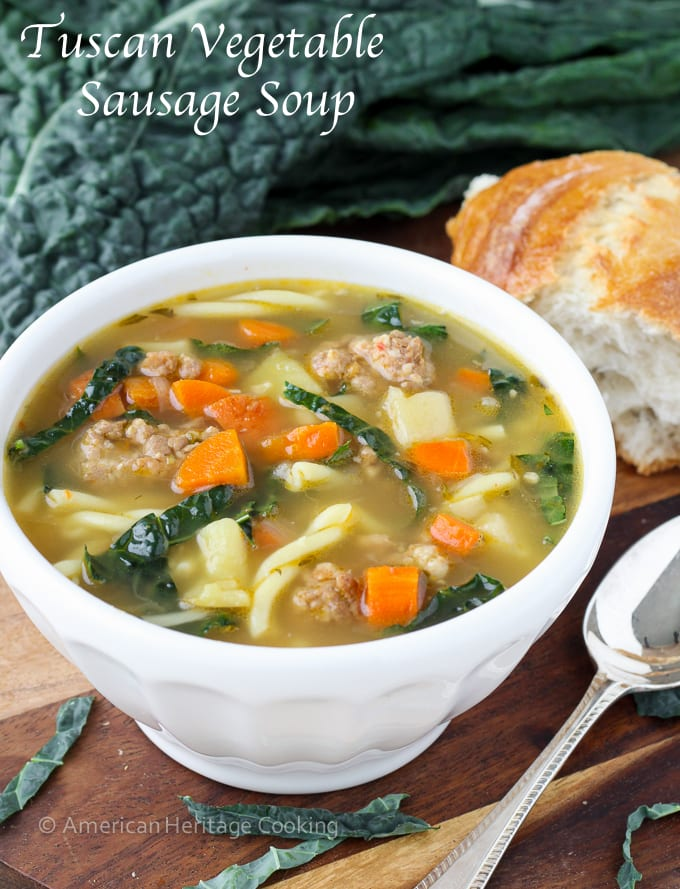 Tuscan Vegetable Sausage Soup | An easy, flavorful and delightfully filling soup recipe! The secret is in the broth!