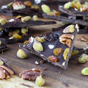 Salted Chocolate Cherry Pistachio Pecan Holiday Bark Recipe | An easy Christmas treat to share or to keep! It's so delicious you might not want to share!