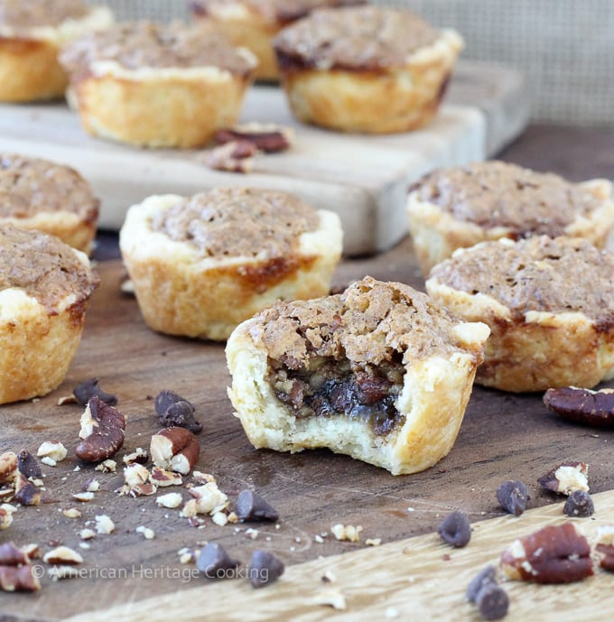These Chocolate Pecan Tassies are like mini pecan pies with a cream cheese crust! Based on my great-grandmother's recipe!