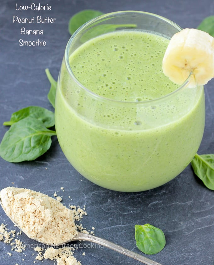 This low calorie peanut butter banana spinach smoothie recipe is easy and delicious! And the spinach? You won't even know it's there!