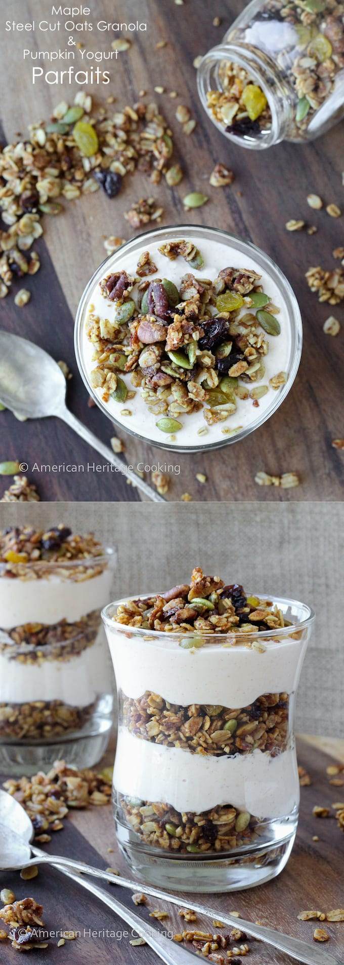 These Maple Steel Cut Oats Granola Pumpkin Yogurt Parfaits are an easy, delicious breakfast! Protein and fiber packed to keep you full!