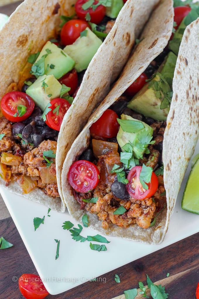 These healthy Chipotle Chorizo Chicken Tacos are packed with flavor and healthy ingredients! And they come together in under 20 minutes!