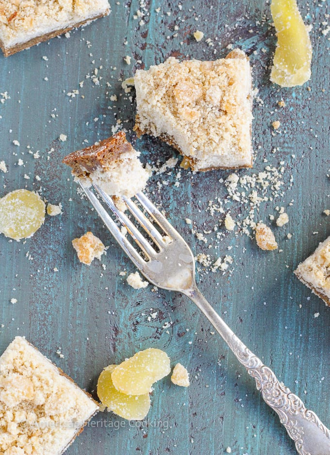 These Chewy Ginger Bars have a gingerbread base with a sweet candied ginger crumble topping!! There is candied ginger folded into the base for a perfect burst of ginger!