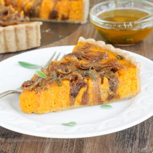 Carrots and butternut squash roasted with Harissa and Hungarian paprika covered in caramelized onions, then baked to custardy perfection in a whole-wheat tart shell. All topped with sage browned butter.