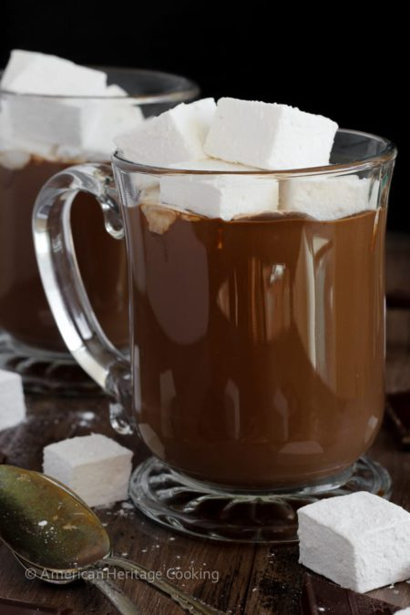 The BEST Hot Chocolate: This hot chocolate is incredibly rich, creamy and silky. It is decadence in a mug.  Deep dark chocolate is balanced with a little salt to temper the sweetness and to enhance the chocolate flavor.