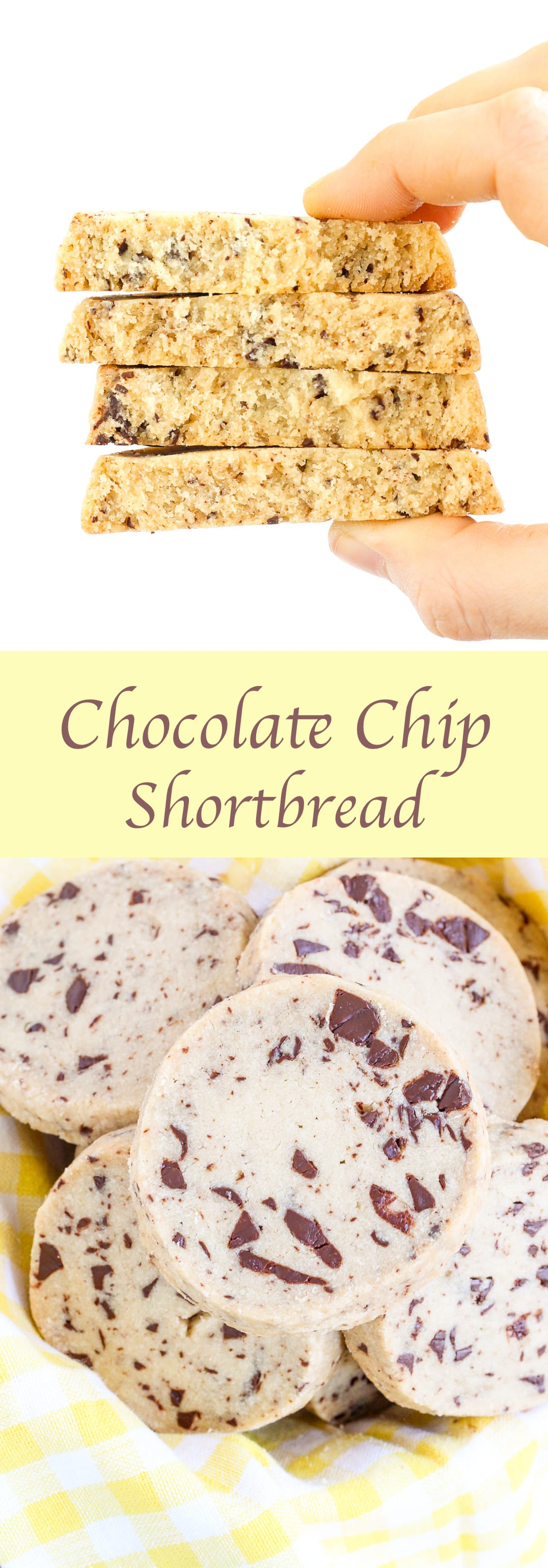 These Chocolate Chip Shortbread Cookies magically have texture of a classic shortbread cookie while remaining soft and moist. A sweet brown sugar, vanilla dough is marbled with semi-sweet chocolate chips for a sweet treat that is perfect as dessert or with a cup of coffee!