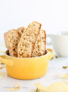 These sensational Ginger Orange Almond Biscotti are a little bit spicy and bit sweet! They have notes of ginger, orange, cardamom and cinnamon all baked to crispy perfection. Perfect for dunking in coffee or just snacking!