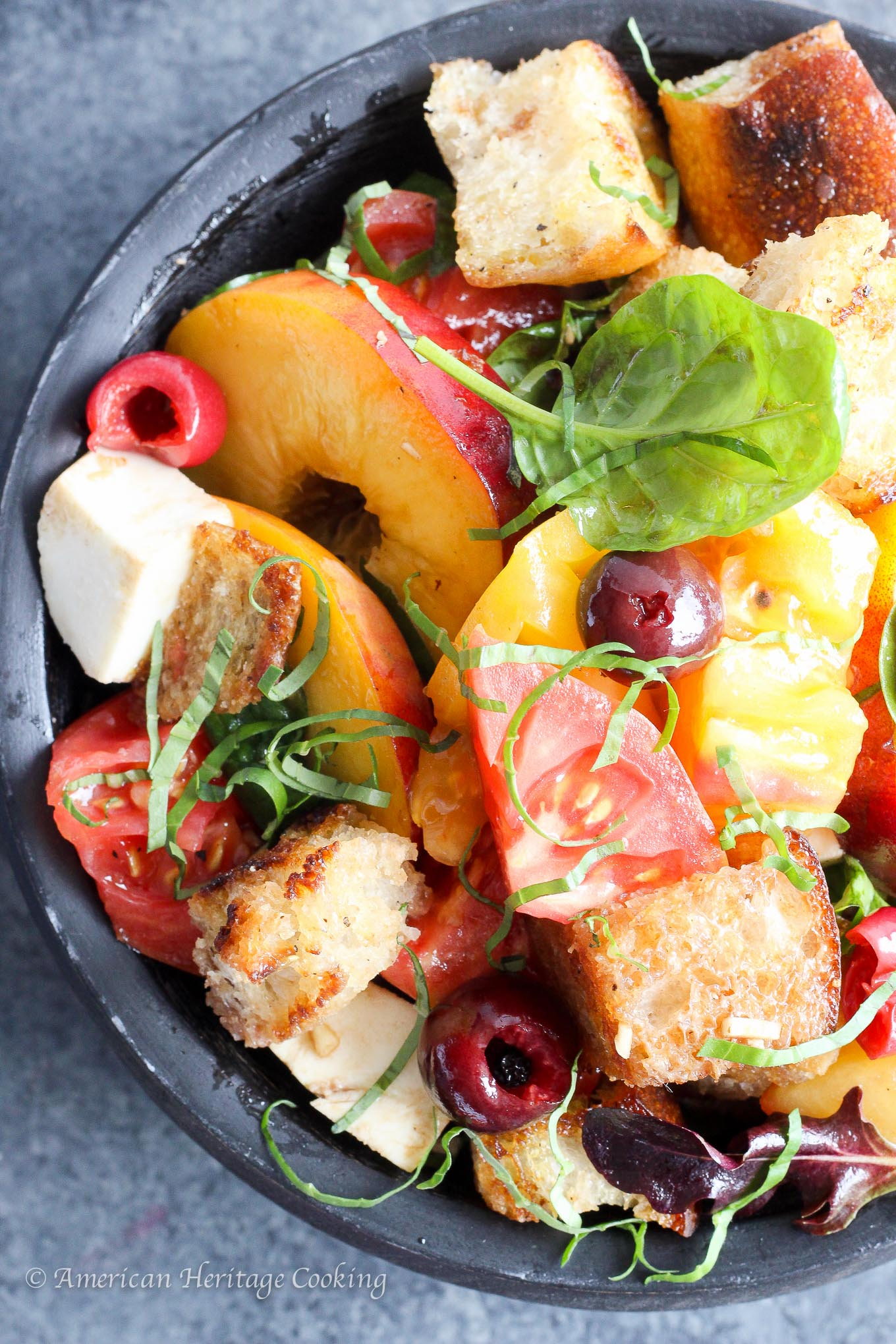 There is nothing better than taking all of Summer's bounty and throwing it into an easy, no-oven salad! This Stone Fruit Caprese Panzanella Salad is at once familiar and comforting with a hint of the unexpected!