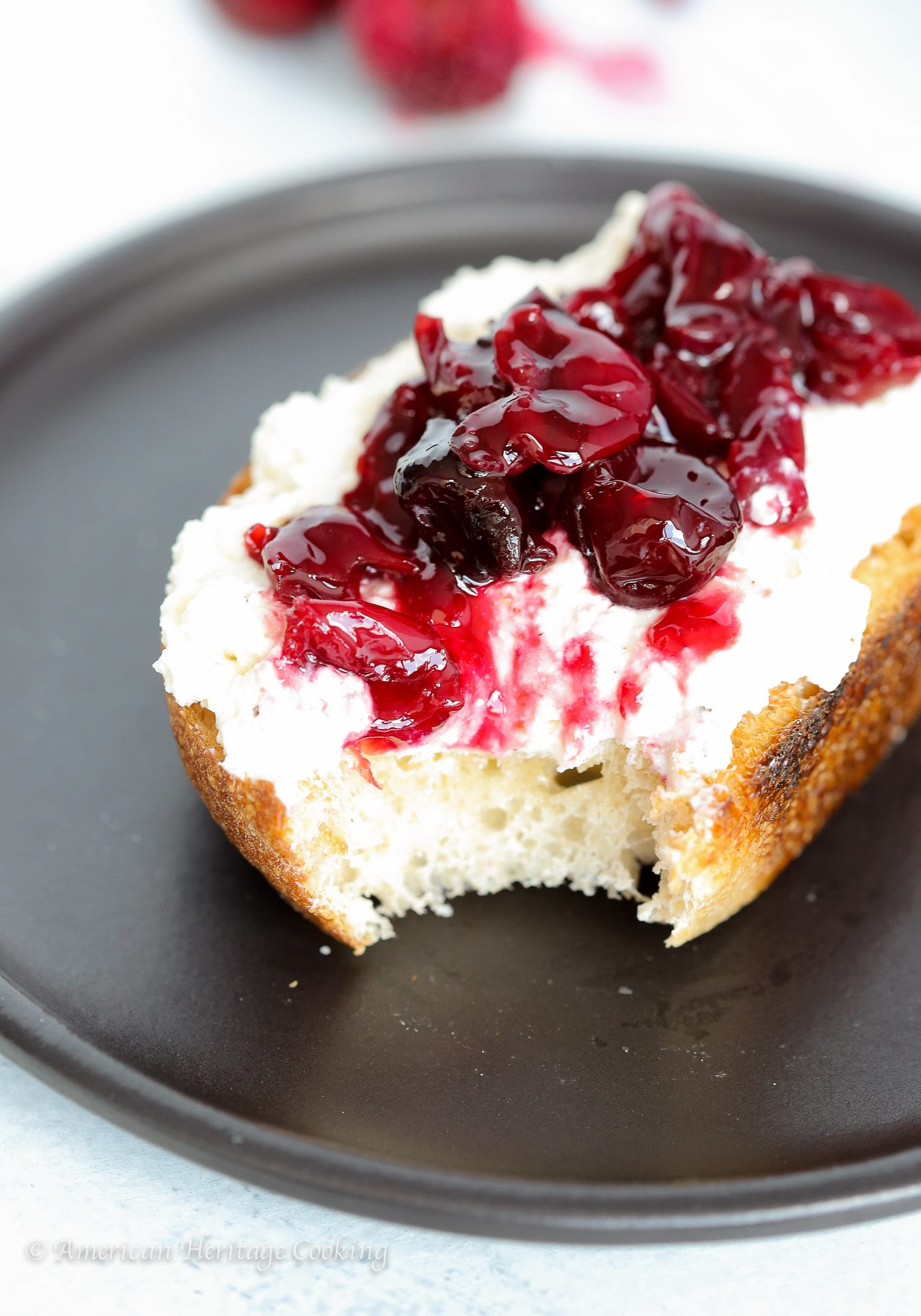 These Cherry Preserves are quick and easy! Stock up on Summer's bounty and enjoy all year! I spread mine on black pepper honey ricotta toast for an easy snack or breakfast.