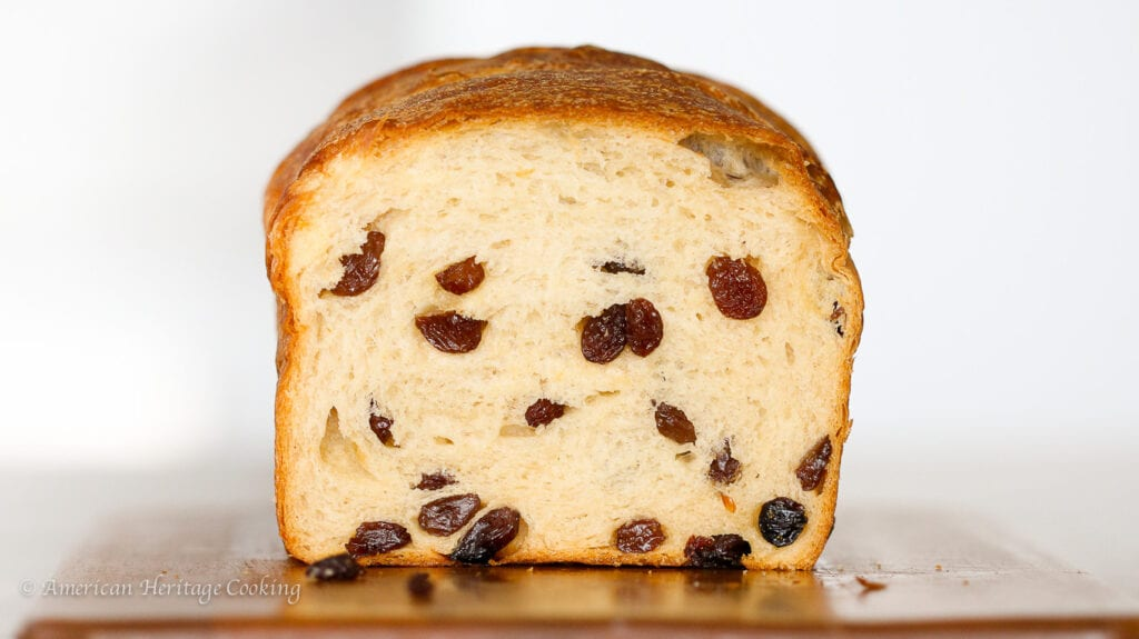 This Sourdough Raisin Bread is soft, chewy, buttery and packed full of raisins in every bite!