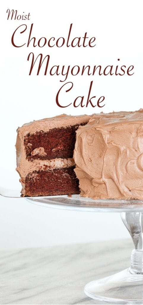 This Chocolate Mayonnaise Cake is tender, moist and perfectly rich. It has a silky chocolate cream cheese buttercream!