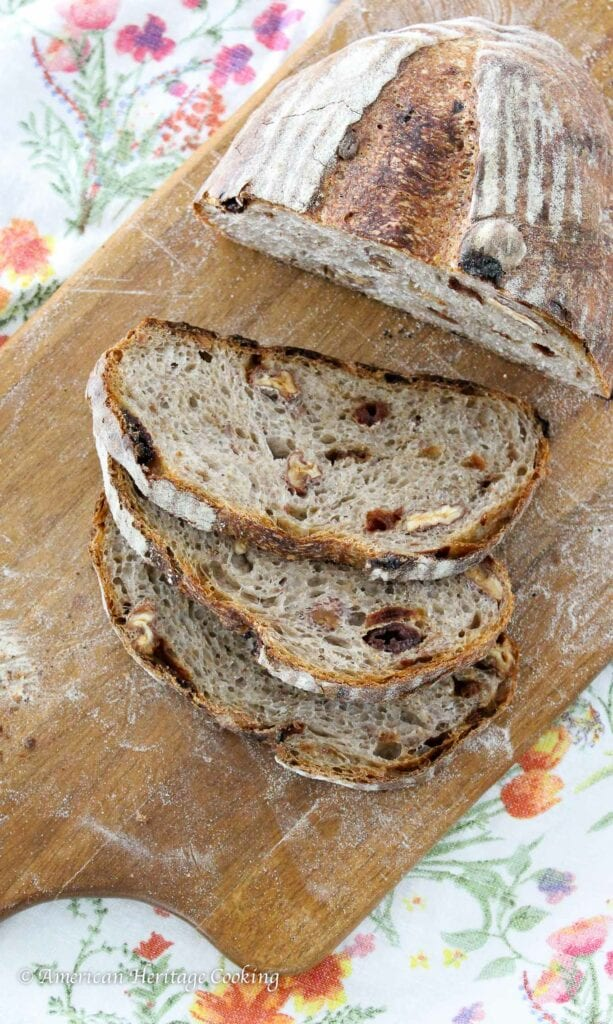 This Cherry Pecan Sourdough Bread is chewy and full of dried cherries and toasted pecans!