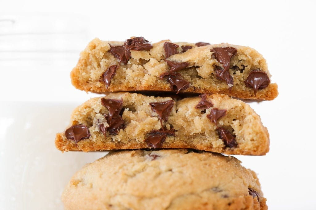 A look inside chewy chocolate chip cookies.