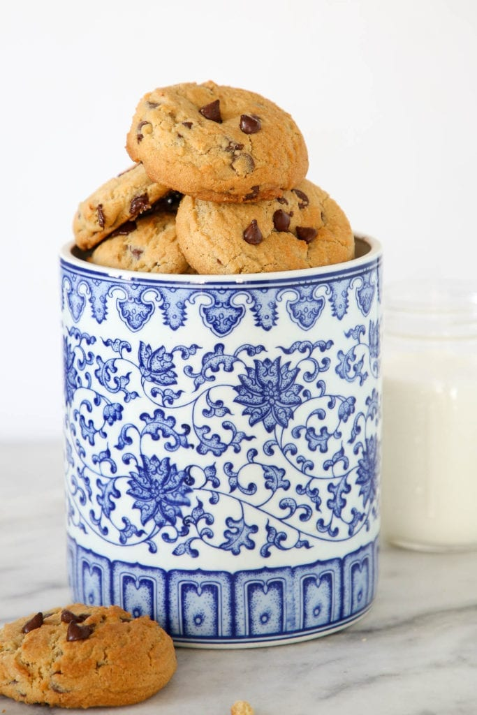 Chewy chocolate chip cookies in jar