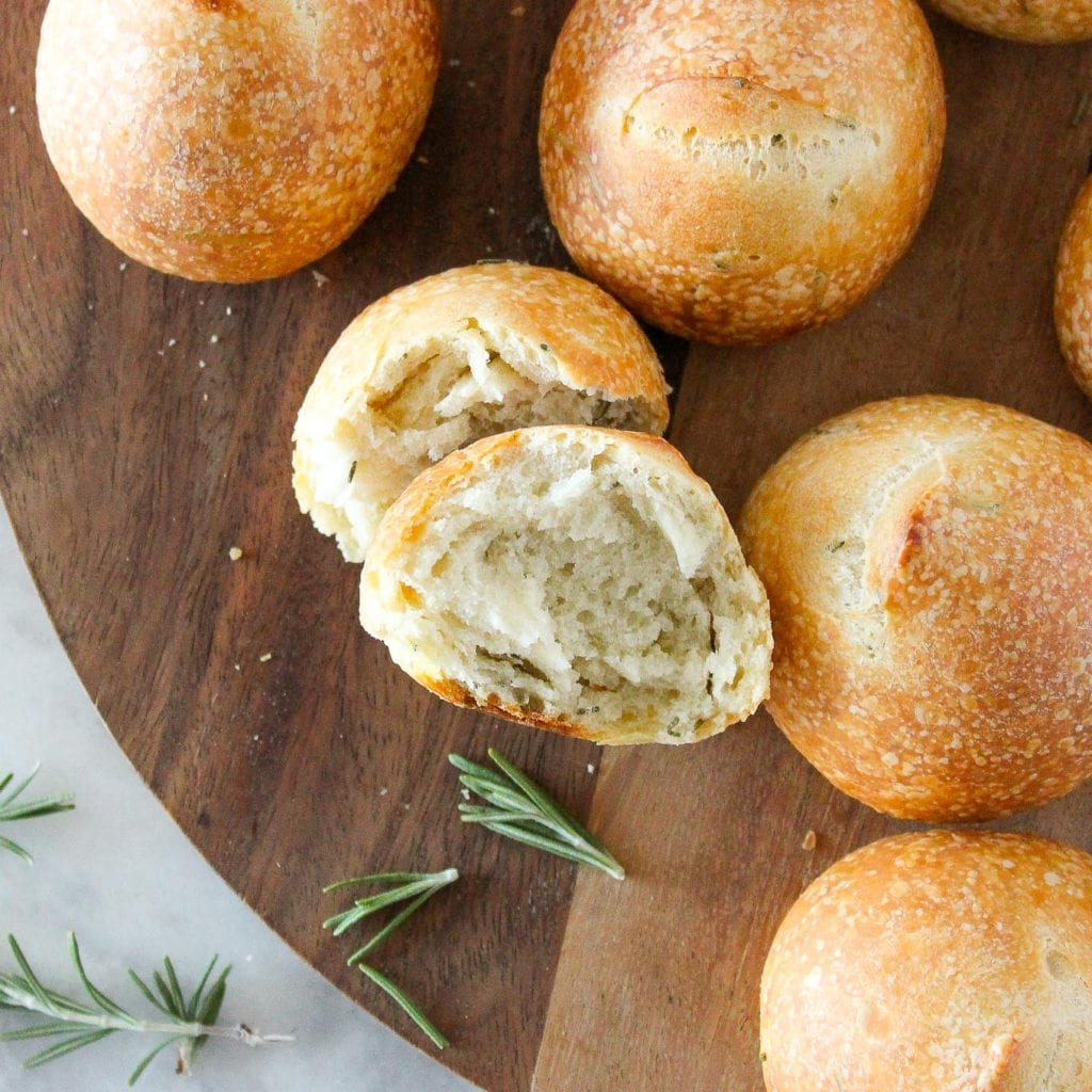 These Rosemary Sourdough Rolls are soft on the inside and crunchy on the outside!
