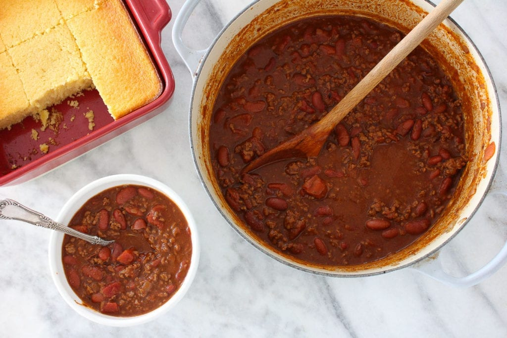 The Pinot Noir Chili is a rich, comforting chili with ground beef and kidney beans and just a touch of pinot noir wine for a beautiful depth of flavor! It's like your favorite chili but dressed up a bit!