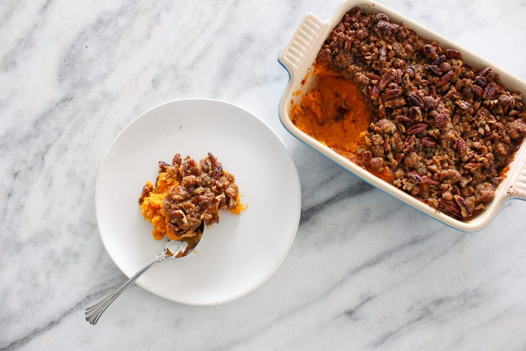 This Maple Sweet Potato Casserole has a crunchy brown sugar pecan topping and is just sweet enough!