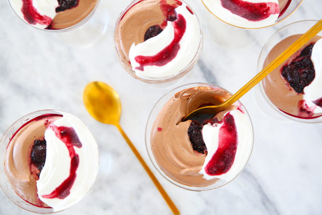 Black Forest Mousse is an easy dark chocolate mousse swirled with a kirsch cherry sauce