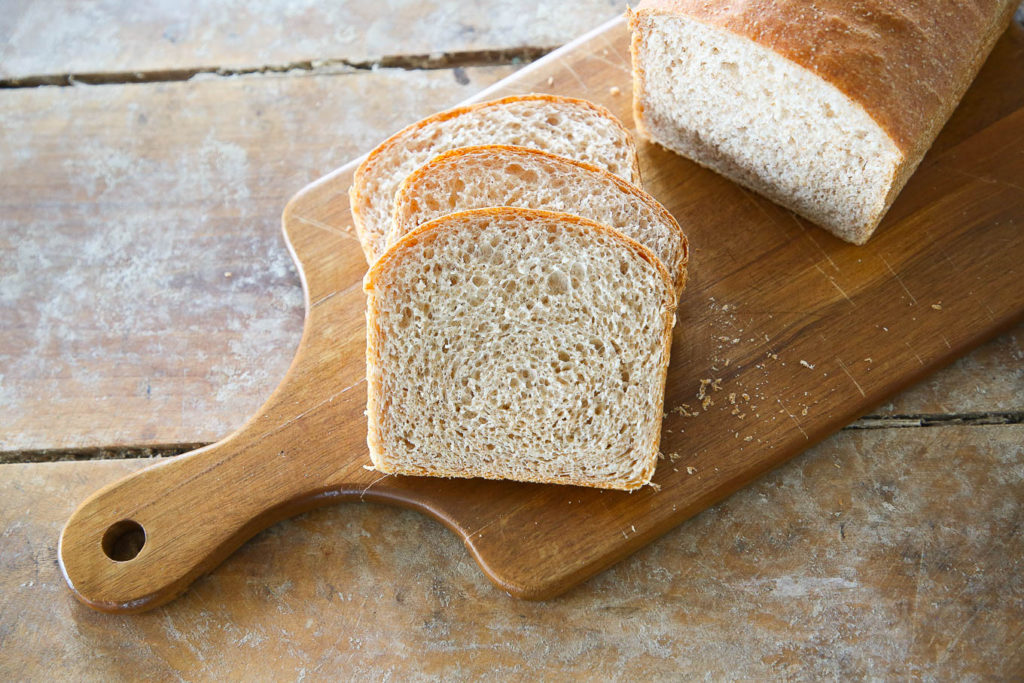 The perfect whole wheat sandwich bread sliced.