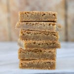 These classic chewy blondies are flavored with butter, vanilla and brown sugar, and they are made in one bowl!