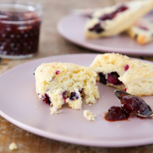 These blueberry scones are soft, tender and moist with the perfect amount of fresh blueberries folded in! A hint of lemon zest rounds out the flavor!
