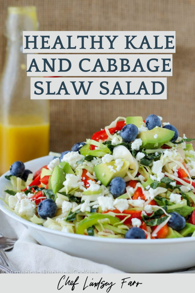Healthy Kale And Cabbage Slaw Salad