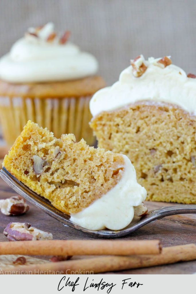 Toasted Pecan Pumpkin Cupcakes Maple Caramel Cream Cheese Frosting